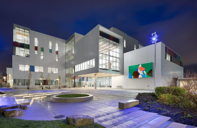 bbp emily carr university of art + design exterior night full