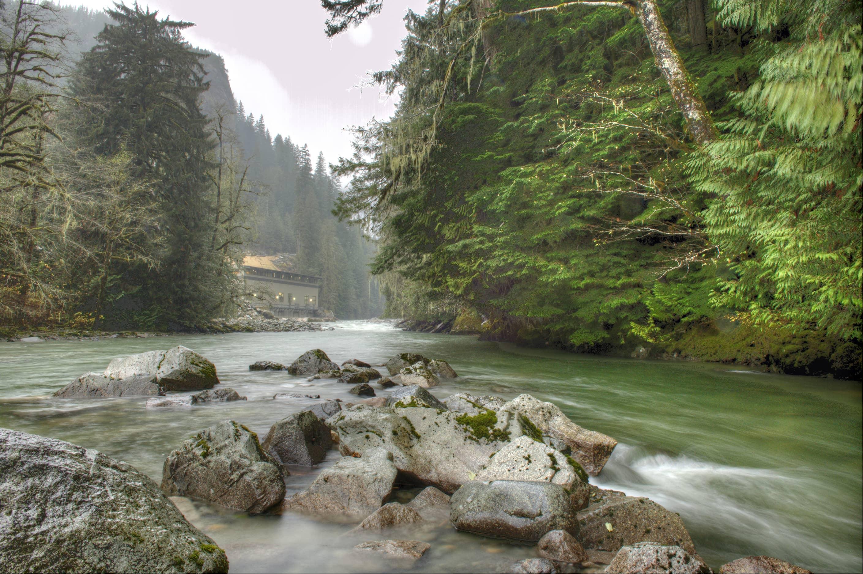 bbp ashlu creek run-of-river hydroelectric plant exterior far away